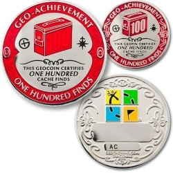 100 Finds Geo-Achievement Coin & Pin set