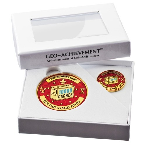 10000 Finds Geo-Achievement Coin & Pin set