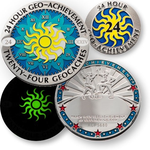 24 Hours 24 Caches Geo-Achievement Coin & Pin Set