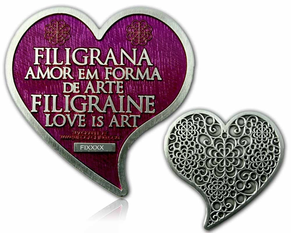 Filigrana Love Geocoin Antique Silver Amethyst