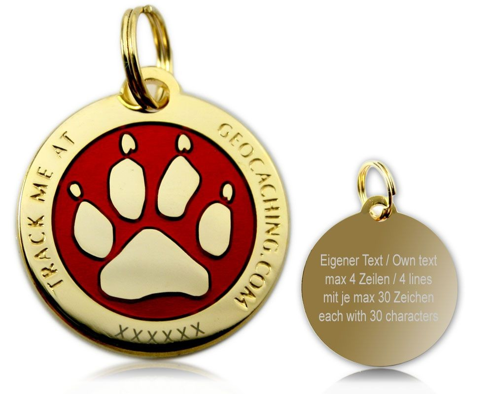 Cacher's Dog Geocoin Polished Gold RED