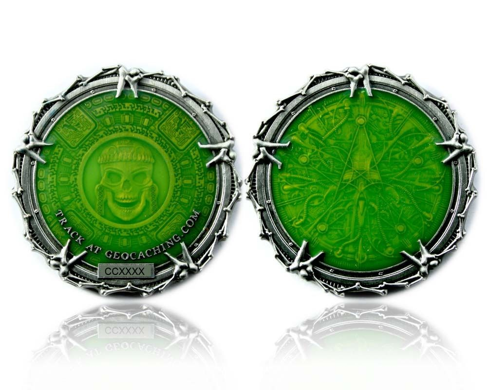 Pirate Bones Silver Green Edition Geocoin