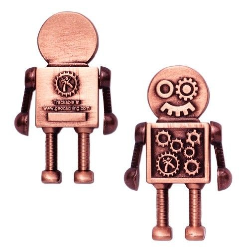Steampunk Robot Geocoin Antique Copper