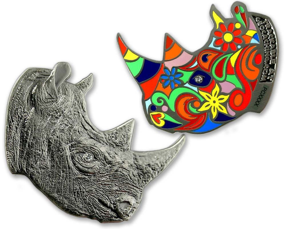 Rhinoceros Geocoin - Antique Nickel