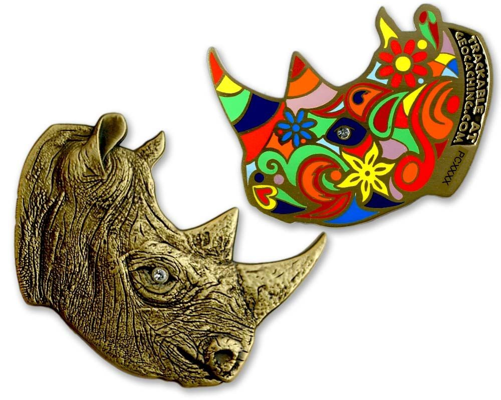 Rhinoceros Geocoin - Antique Bronze