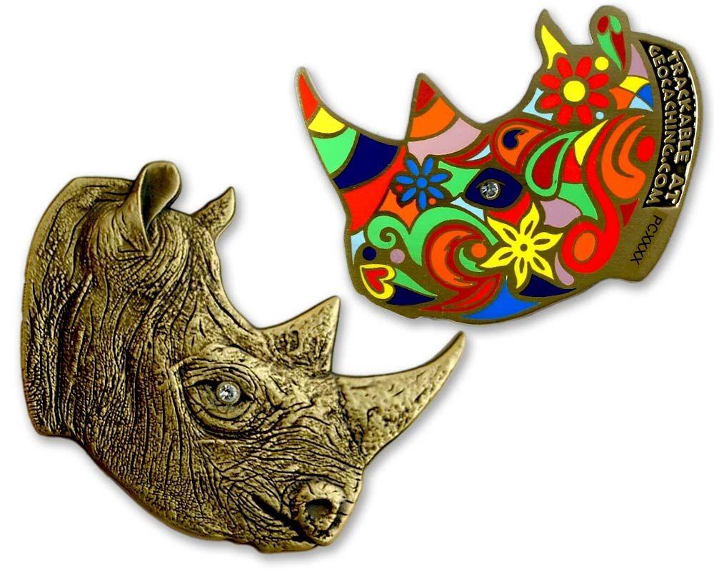 Rhinoceros Geocoin - Antique Bronze