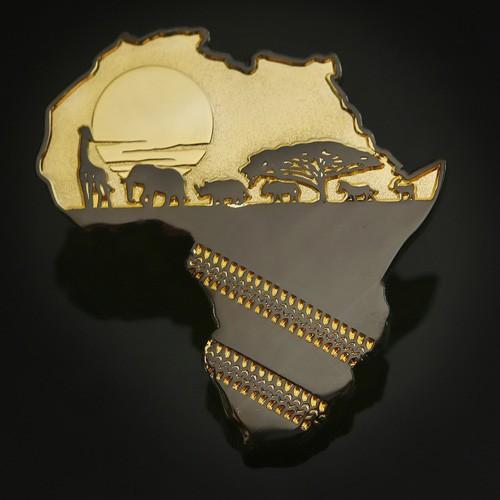 African Safari Geocoin Two Tone Shiny Gold 2