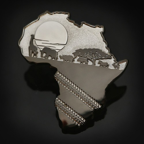 African Safari Geocoin Two Tone Silver with Black Nickel 2