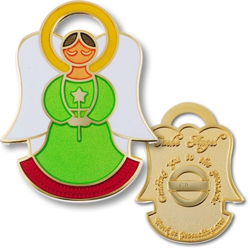 Cache Angel Geocoin - Genesis Green - Gold