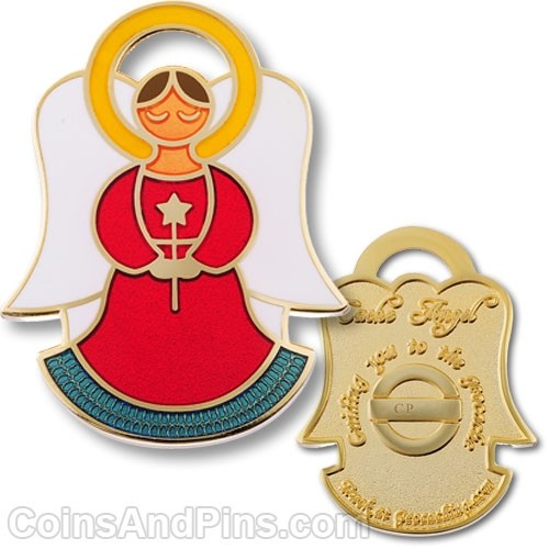 Cache Angel Geocoin - Love Red - Gold