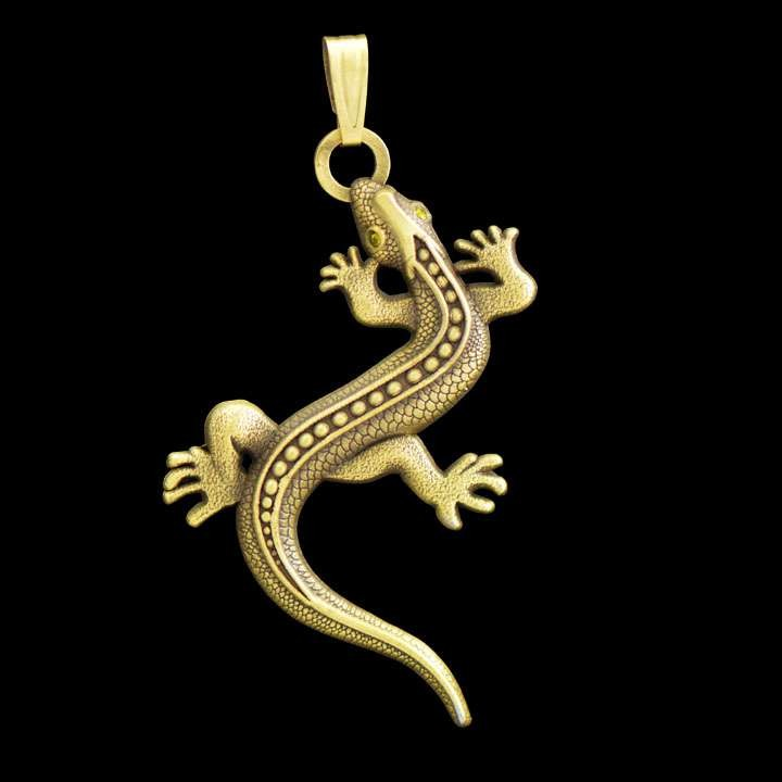 Czech Lizard Pendant Geocoin 2012 - Antique bronze