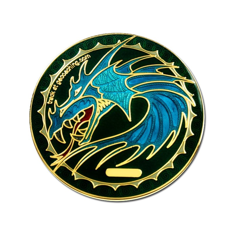 Dragon Tails Sapphire Geocoin - Shiny Gold