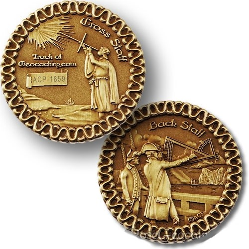 Cross Staff and Back Staff Geocoin