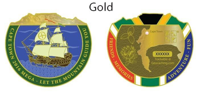 Cape Town Mega 2016 Geocoin - Gold