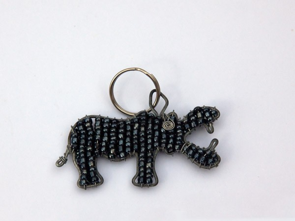 African Metallic Bead & Wire Hippo