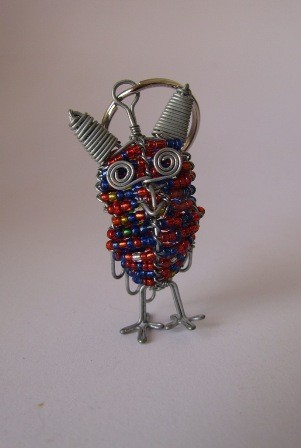 African bead & wire owl