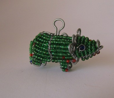 African bead & wire buffalo front