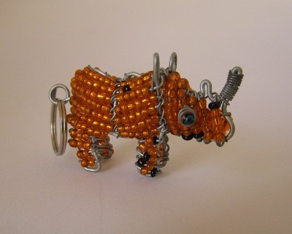 African bead & wire rhino