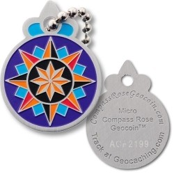Micro Compass Rose Geocoin Tag