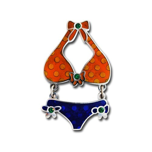 Itsy Bitsy Bikini Blue & Orange Geocoin- Nickel