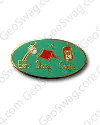 Eat Sleep Cache Pin - Gold