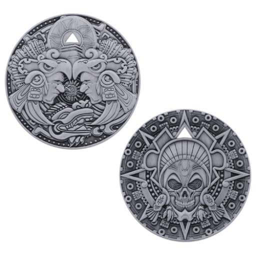 Aztec Pirate Geocoin - Antique Silver