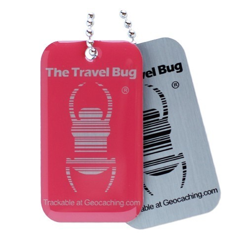 Geocaching QR Travel Bug - Atomic Pink