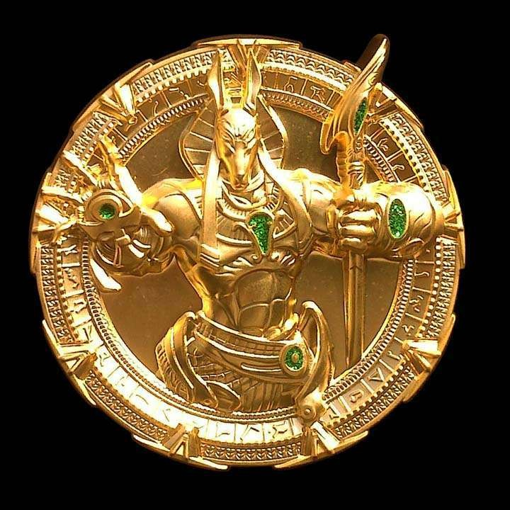 Star Gate - Anubis Dhd Geocoin - Satin Gold