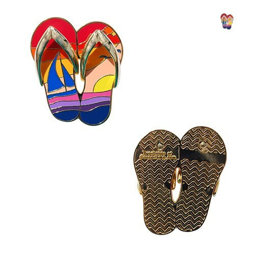 Sunset Flip Flops Geocoin - Gold