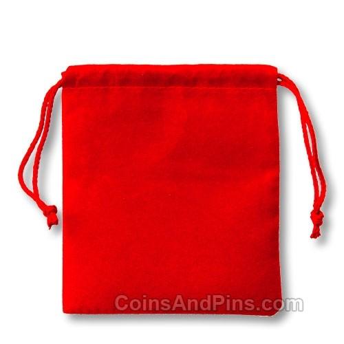 Velvet Coin Pouch - Red