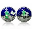 Moon Caching Adventure Geocoin - Antique Silver