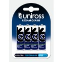 Uniross AA 2700mAh Rechargeable Batteries - 4 Pack