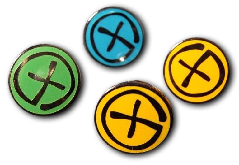 Geocaching Pin - Black Nickel - Blue / Green / Yellow