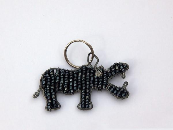 African Metallic Bead & Wire Hippo