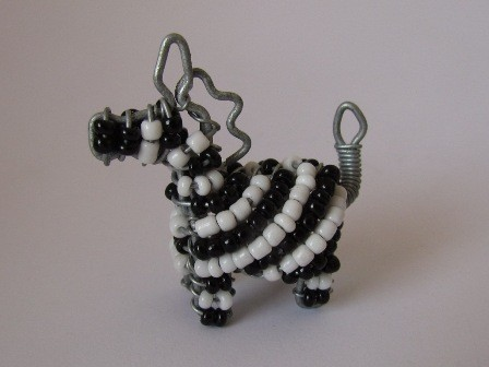 African bead & wire zebra