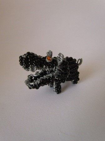 African bead & wire hippo