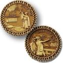 Cross Staff and Back Staff Geocoin - antique bronze